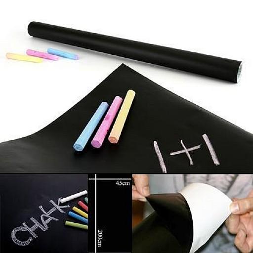 Plāna līmējamā tāfeles virsma melnā krāsā (45x200cm) + 5 krītiņi Rotaļlietas un Preces Bērniem