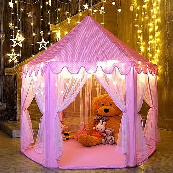 Bērnu telts 140x135cm - Rozā Teltis