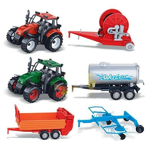 Lauksaimniecības tehnika : divi traktori un četras piekabes Rotaļlietas un Preces Bērniem