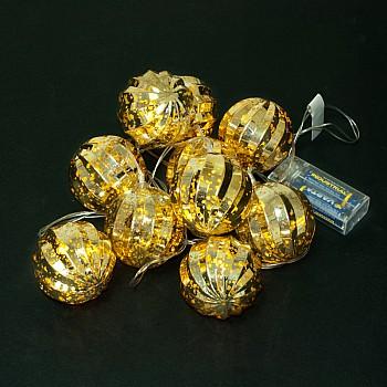 Dekoratīvas Ziemassvētku LED spuldzes 10gab., 6cm, 2m, 2xAA Ziemassvētku virtenes