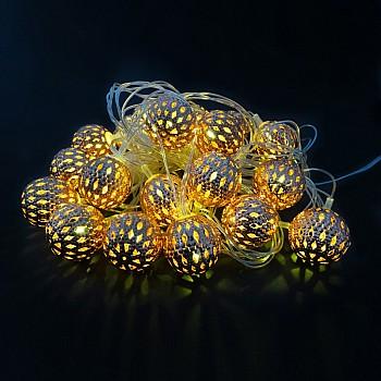 Dekoratīvas Ziemassvētku LED bumbiņas 20gab., 3cm, 4m Ziemassvētku virtenes