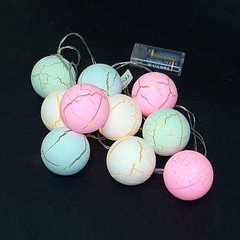 Gaismas virtene ar bumbiņām 2m, 10gb., 2xAA Ziemassvētku virtenes