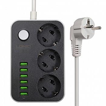 Pagarinātājs ar 3 x rozetēm 230V un 6 x USB 5V 3,4A (max), 1,6m Saimniecībai