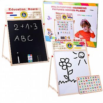 Divpusēja tāfele + abacus, krītiņi, 63,5 x 47 cm Attīstošās Rotaļlietas