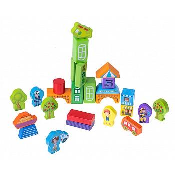 Koka krāsainu bloku komplekts plastmasas spainī 100 el. Attīstošās Rotaļlietas
