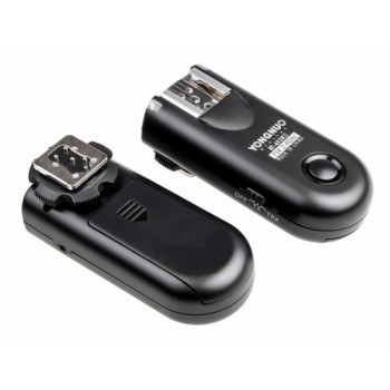 A set of two Yongnuo RF603N II flash triggers with a N1 for Nikon cable